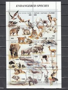 Batum, 262-271 Cinderella issue. Endangered Species sheet of 10. Canceled issue.