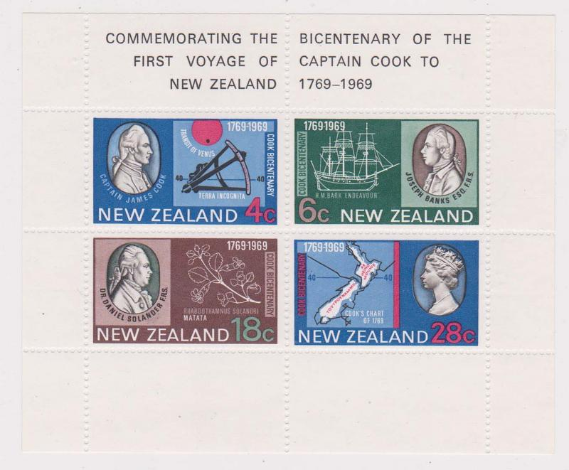 New Zealand - 1969 Captain Cook Souvenir Sheet mint Sc #434a