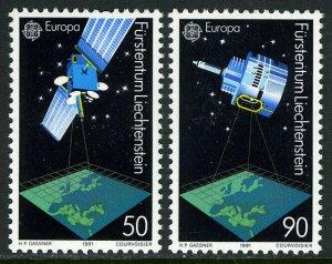 Liechtenstein 955-956,MNH.Michel 1011-1012. EUROPE CEPT-1991, Satellites.