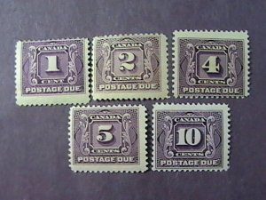 CANADA # J1-J5-MINT/HINGED---COMPLETE SET---POSTAGE DUE---1906-28