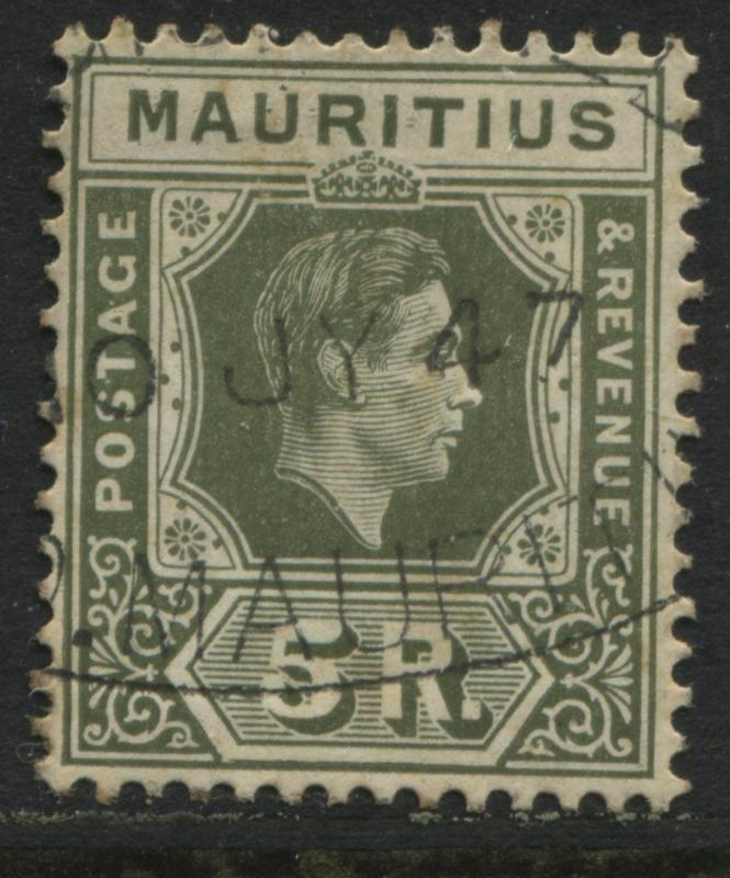 Mauritius 1938 KGVI  5 rupees on chalky paper CDS used