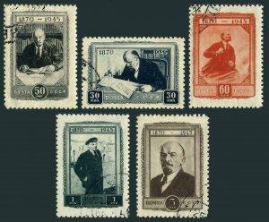 Russia 1002-1006,CTO.Michel 983-987. Vladimir Lenin-75,1945.Portraits.
