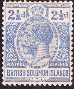 BRITISH SOLOMON ISLANDS 1914 KGV  2.5d Ultramarine SG27 FU