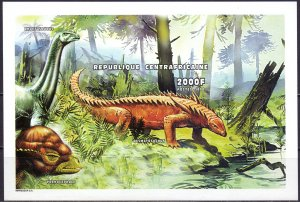 Central African Republic. 1999. Small sheet 2247-58B bl624B. Dinosaurs. MNH.