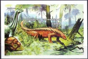 Central African Republic. 1999. ml 2247-58V, bl624V. Dinosaurs. MNH.