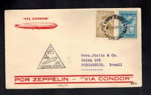 1934 Argentina LZ 127 Graf Zeppelin Cover to Pernambucio Brazil