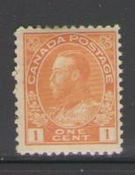 Canada Sc 105 1922 1 c orange yellow George V Admiral issue stamp mint