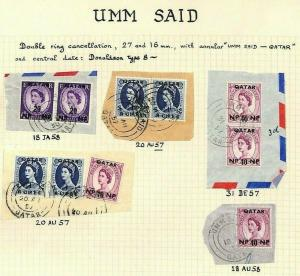 QATAR GB Wilding Overprints UMM SAID Postmark Pieces {5}{samwells-covers} MS3979