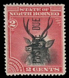 North Borneo Scott J1 Variety 2 Gibbons D1 Mint Stamp