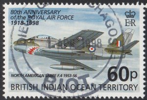 BIOT 1998 used Sc #200 60p North American Sabre F86 RAF 80th ann