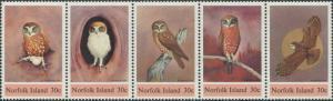 Norfolk Island 1984 SG338-342 Owls strip MNH