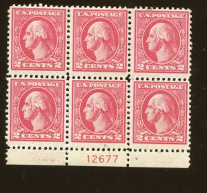 1920 US Stamp #528B A140 2c Plate Block of 6 Catalogue Value $200