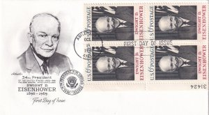 1969, Honoring Dwight D. Eisenhower, Art Master, FDC (E12232)