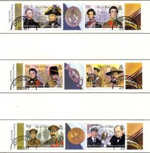 Isle of Man Sc 861-3 2000 Military Leaders stamp set used