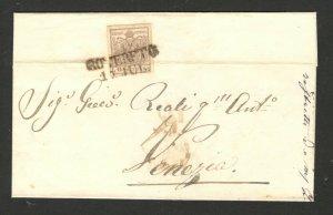 AUSTRIA - FOLDED LETTER WITH STAMP 6 kreuzer - TO VENEZIA , ITALY - 1856.