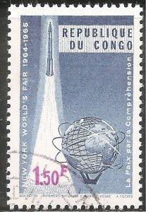 Congo Stamp - Scott #522/A110 1.50fr Blue & Lilac World's Fair Canc/LH 1965