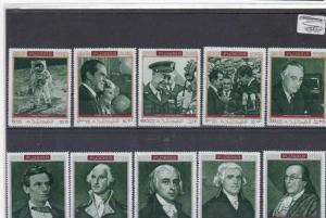 FUJEIRA 1970s FAMOUS AMERICANS  STAMPS ON STOCK CARD REF 1578