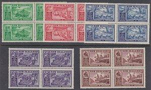 NEW ZEALAND 1936 Commerce set MNH blocks of 4...............................K850