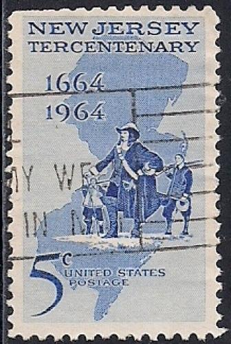 1247 5 Cent New Jersey Tercentenary Stamp Used VF