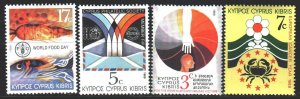 Cyprus. 1989. 726-29. Fight against cancer, fish, earthquake in Armenia, post...