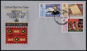 British Antarctic Territory 68-70 on FDC - Queen Elizabeth Silver Jubilee, Ships