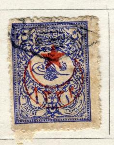 TURKEY; 1915 Star & Crescent Optd. on fine used 1901 External issue 1pi.