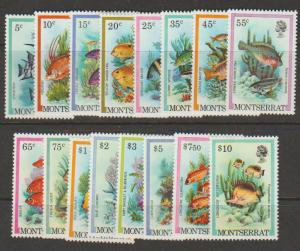 Montserrat SG 490 - 505 set of 16  Mint Light Hinge  - Fish