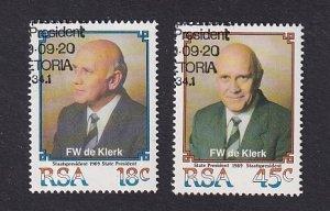 South Africa  #778-779  cancelled  1989  de Klerk