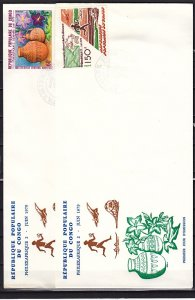 Congo Rep., Scott cat. 497-498. Philexafrique 2 issue. U.P.U. First day cover. ^