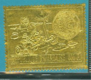 RWANDA  APOLLO0 15 MOON LANDING GOLD FOIL STAMP RARE  MINT NH