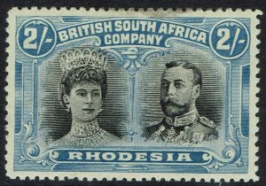 RHODESIA 1910 KGV DOUBLE HEAD 2/- VARIETY GASH IN EAR PERF 14