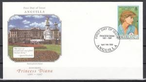 Anguilla, Scott cat. 969 D. Honoring Diana value. First day cover.