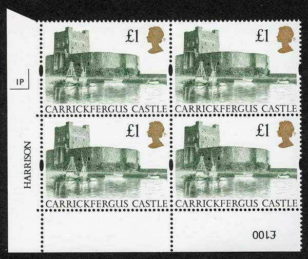 SG1611 1992 One Pound Castle Plate 1P Normal Paper U/M