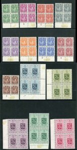 St Lucia SG146/59 Set of 14 in Block of Four (2 x U/M)