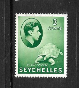 SEYCHELLES  1938  3c GREEN  KGVI PICTORIAL   MLH  SG 136