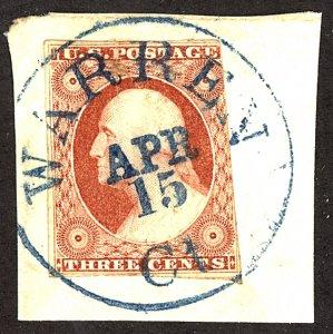U.S. #11 Used On Piece BLUE CANCEL