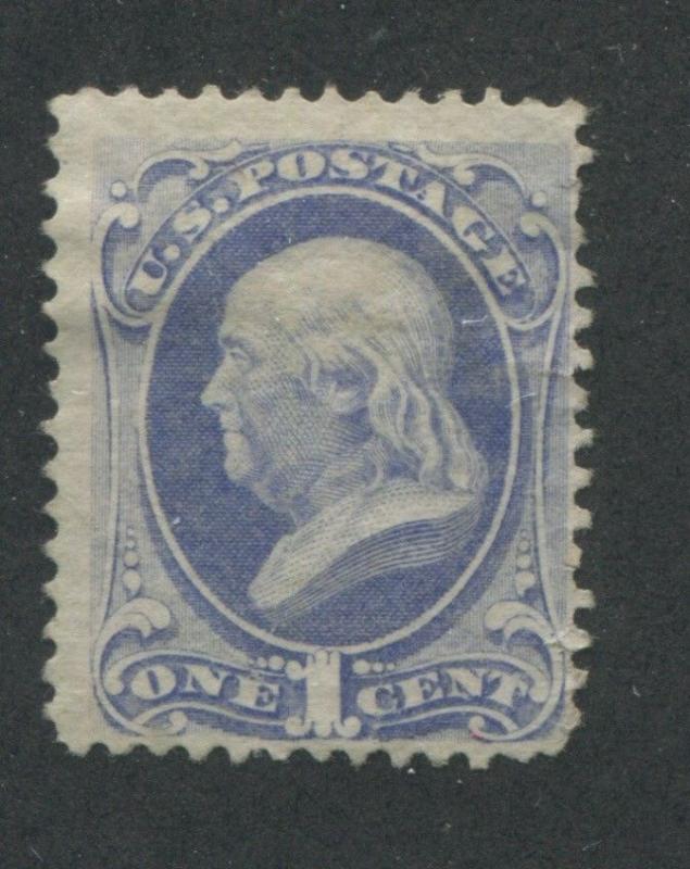 1870 US Stamp #145 Pale 1c Mint Fine No Gum Perf 12. Catalogue Value $240