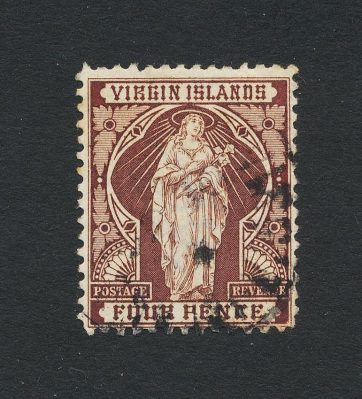 BRITISH VIRGIN IS 1899, 4d  VF USED SG#46 (SEE BELOW)