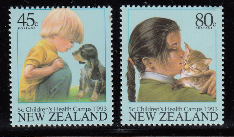 New Zealand 1993 MNH #B143-#B144 Boy and puppy, Girl and kitten