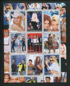 Turkmenistan Commemorative Souvenir Stamp Sheet - V.I.P. Pamela Anderson