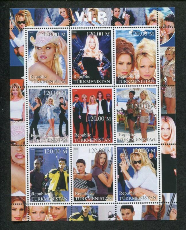 Turkmenistan Commemorative Souvenir Stamp Sheet - V.I.P. Pamela Anderson