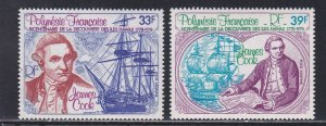 French Polynesia # C154-155, Capt. Cook in Hawaii, NH, 1/2 Cat.