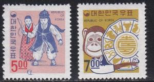 Korea (South) # 592-593, Christmas & New Years, NH, 1/2 Cat.