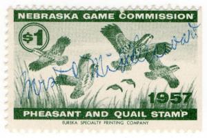 (I.B) US Revenue : Nebraska Pheasant & Quail Stamp $1 (1957)