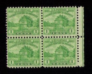 US Sc 728 MNH Zip Block Of (4) Four F-VFHinged On 2 Only.Read Notes..