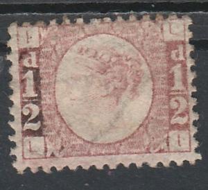 GREAT BRITAIN 1870 QV 1/2D PLATE 4