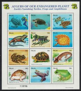 Palau Turtle Frog Iguana Endangered Reptiles and Amphibians Sheetlet of 12v