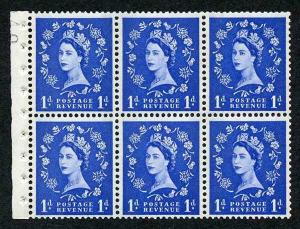 SB41 1d Wmk Crowns Cream Paper with Blue Bands Booklet Pane of 6 U/M