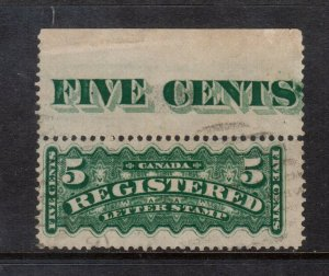 Canada #F2 Used fine With Five Cent Imprint In Selvage