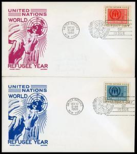 UN FDC #75-76 World Refugee Year - Cachet Craft - Boll Cachet